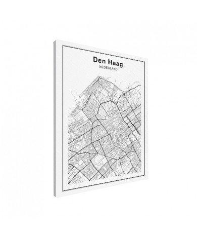 Stadskaart Den Haag zwart-wit canvas