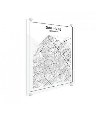 Stadskaart Den Haag zwart-wit plexiglas