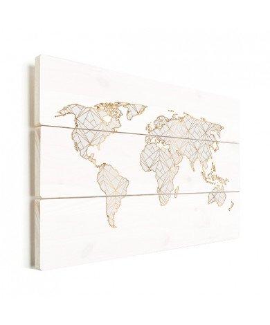 Geometrisch goud-lichtgrijs hout