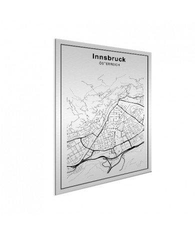 Stadskaart Innsbruck zwart-wit aluminium