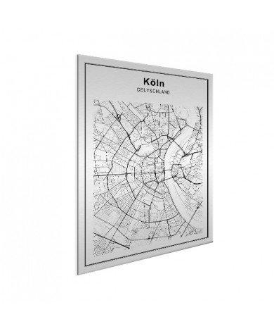 Stadskaart Keulen zwart-wit aluminium