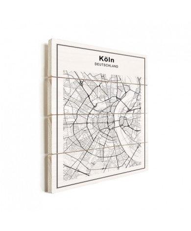 Stadskaart Keulen zwart-wit hout