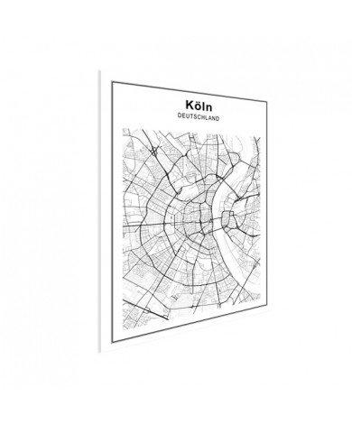 Stadskaart Keulen zwart-wit poster