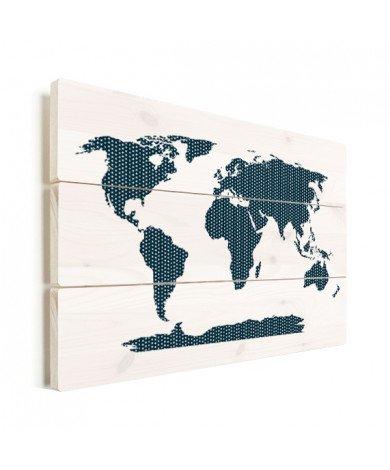 Kruisjes en plusjes blauw hout