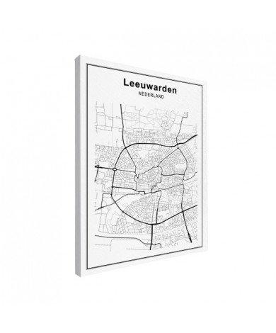 Stadskaart Leeuwarden zwart-wit canvas