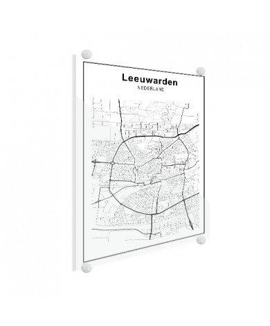 Stadskaart Leeuwarden zwart-wit plexiglas