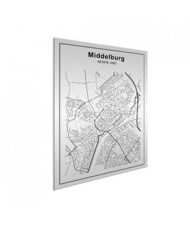 Stadskaart Middelburg zwart-wit aluminium