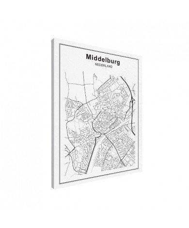 Stadskaart Middelburg zwart-wit-canvas