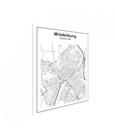Stadskaart Middelburg zwart-wit poster
