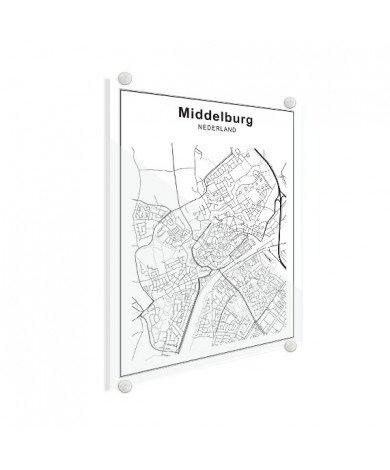Stadskaart Den Bosch zwart-wit plexiglas