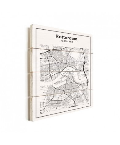 Stadskaart Rotterdam zwart-wit hout