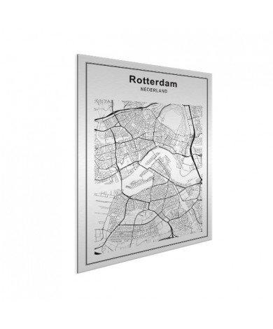 Stadskaart Rotterdam zwart-wit aluminium