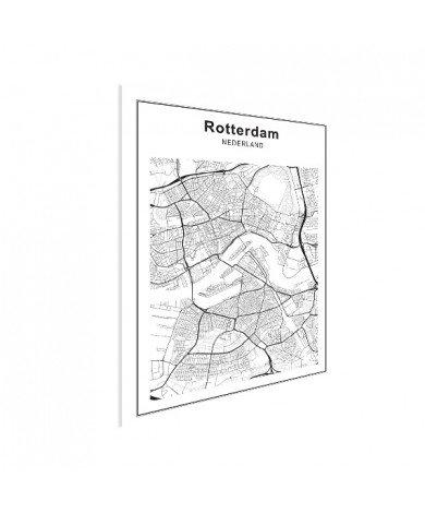 Stadskaart Rotterdam zwart-wit poster