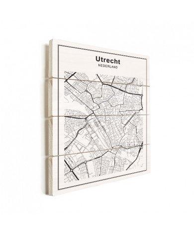 Stadskaart Utrecht zwart-wit hout