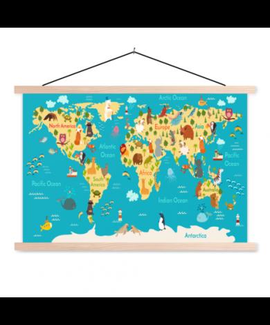 Continenten en zeeën schoolplaat