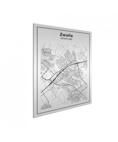 Stadskaart Zwolle zwart-wit aluminium