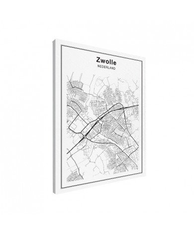 Stadskaart Zwolle zwart-wit canvas