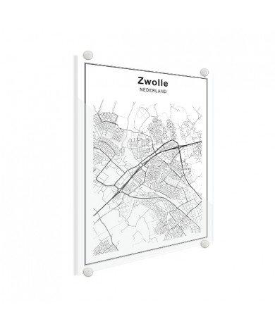 Stadskaart Zwolle zwart-wit plexiglas