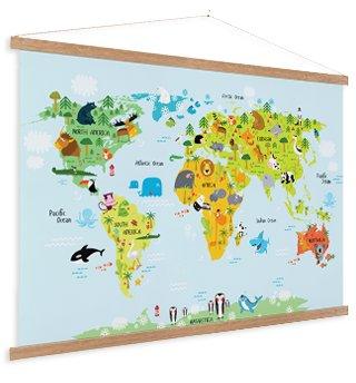 Wereldkaart op schoolplaat