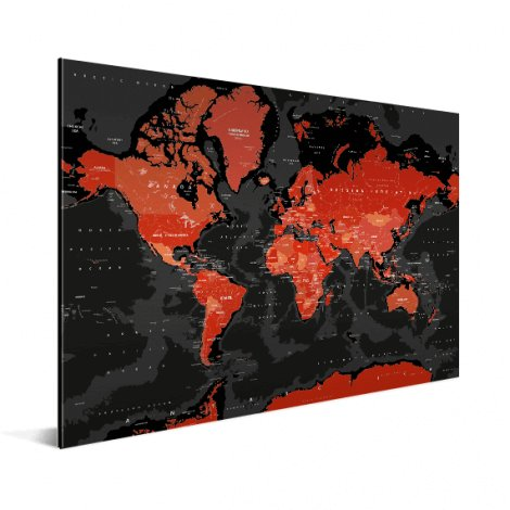 Wereldkaart aluminium